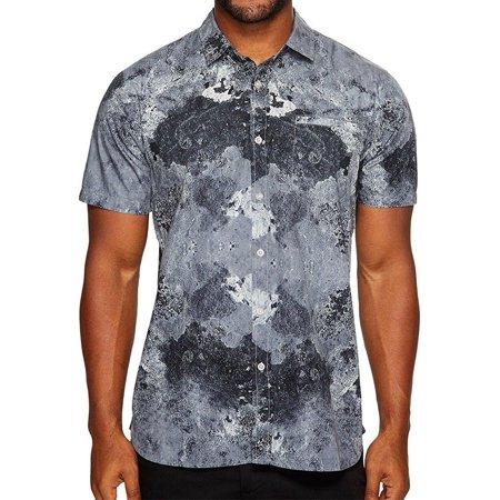 tavik men's porter print short sleeve shirt grey tidepool (Porters Apparel)