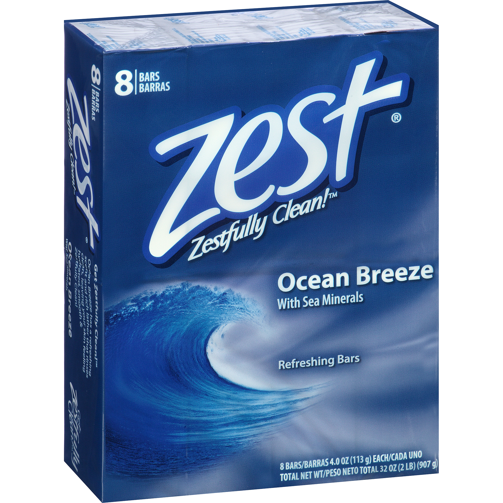 Zest Ocean Breeze Refreshing Bar Soap, 4 oz, 8 count