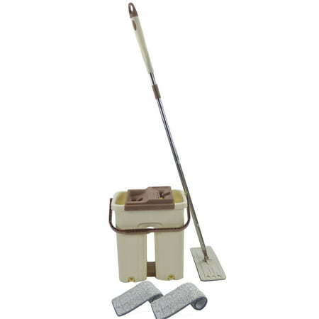 5Star Magic Self Cleaning Flat Floor Mop Bucket System - Automatic Squeeze In n Out Drying Wringer - 2 Microfiber Reusable Washable Pads Included