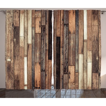 Wooden Curtains 2 Panels Set, Brown Old Hardwood Floor Plank Grunge Lodge Garage Loft Natural Rural Graphic Artsy Print, Window Drapes for Living Room Bedroom, 108W X 84L Inches, Brown, by Ambesonne
