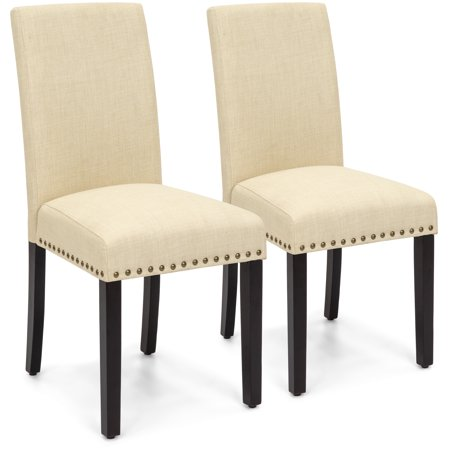Best Choice Products Set of 2 Upholstered Fabric High Back Parsons Accent Dining Chairs for Dining Room, Kitchen w/ Wood Legs, High Density Foam Padding, Nail Head Stud Trim - Ivory ()