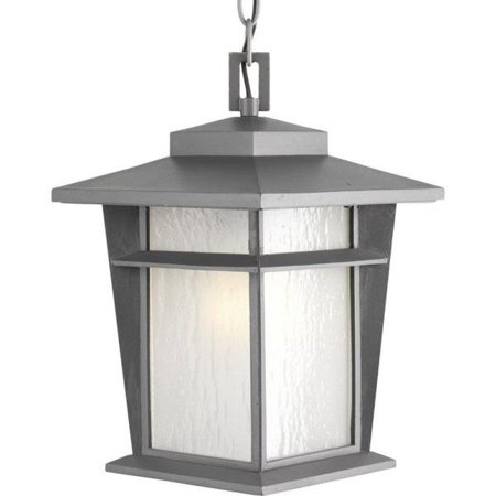 Progress Loyal - One Light Hanging Lantern, Textured Graphite Finish with Etched Seeded -