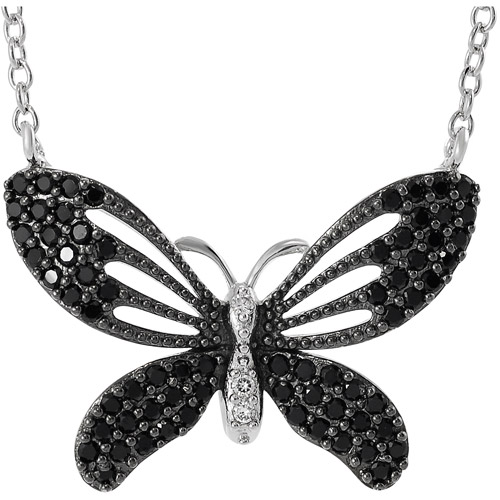 """Brinley Co. Black and White CZ Sterling Silver Butterfly Pendant, 16 with 1"""" Extender"""""""