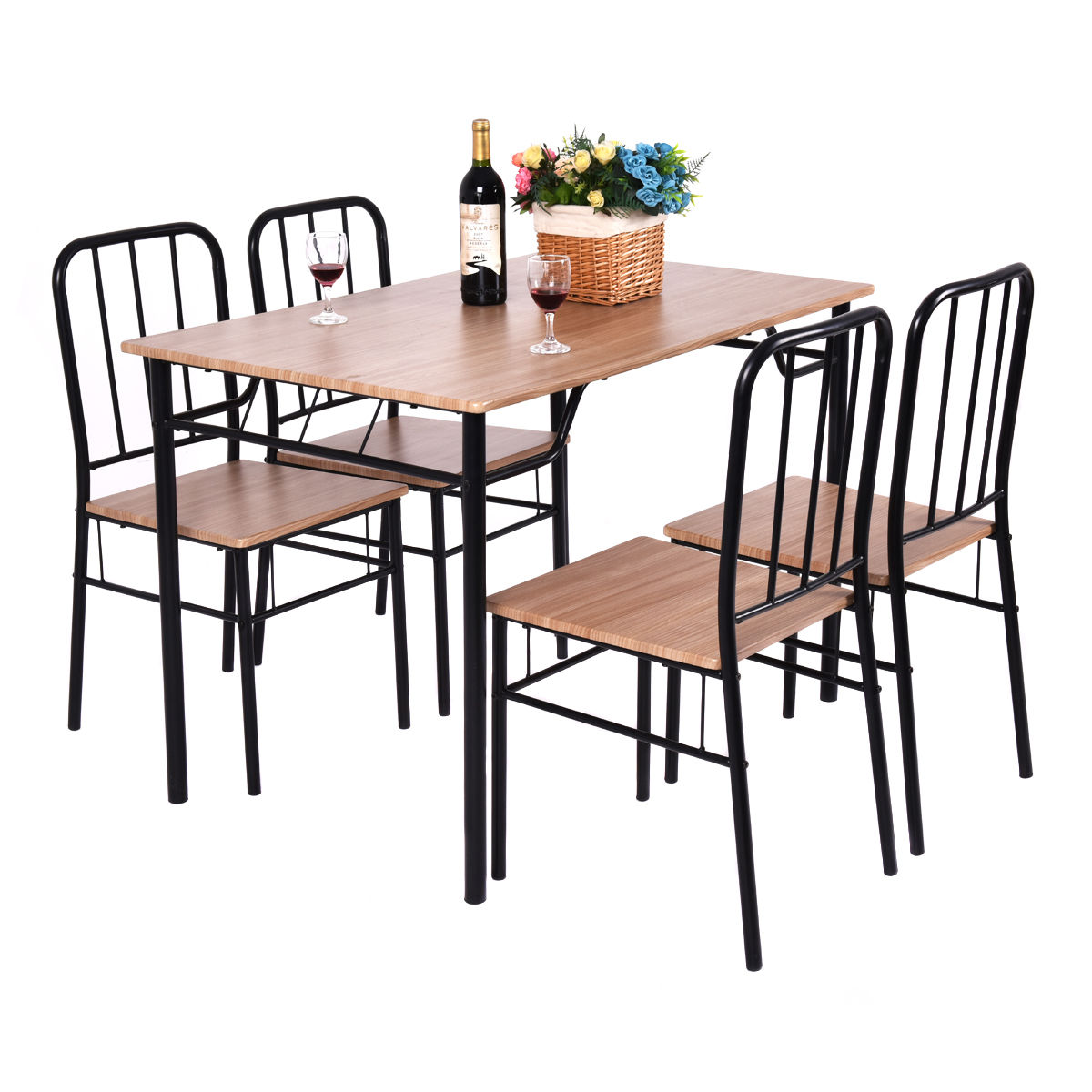Costway 5 Piece Dining Room Set Table And 4 Chairs Metal Wood Home Kitchen Modern Furniture by Costway