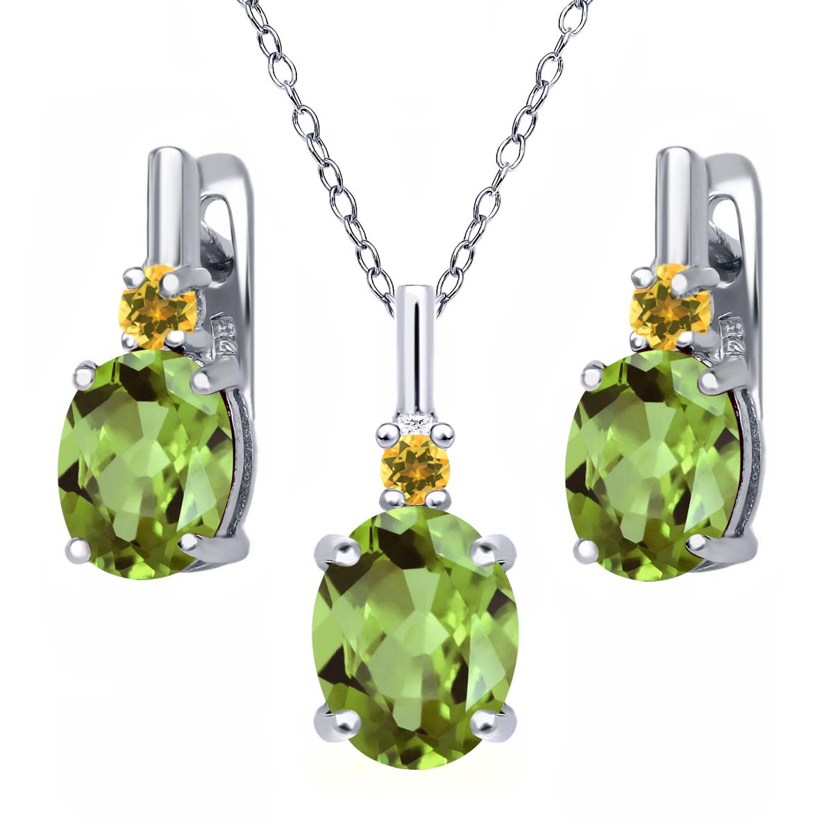 4.12 Ct Oval Green Peridot and Simulated Citrine 925 Silver Pendant Earrings Set by