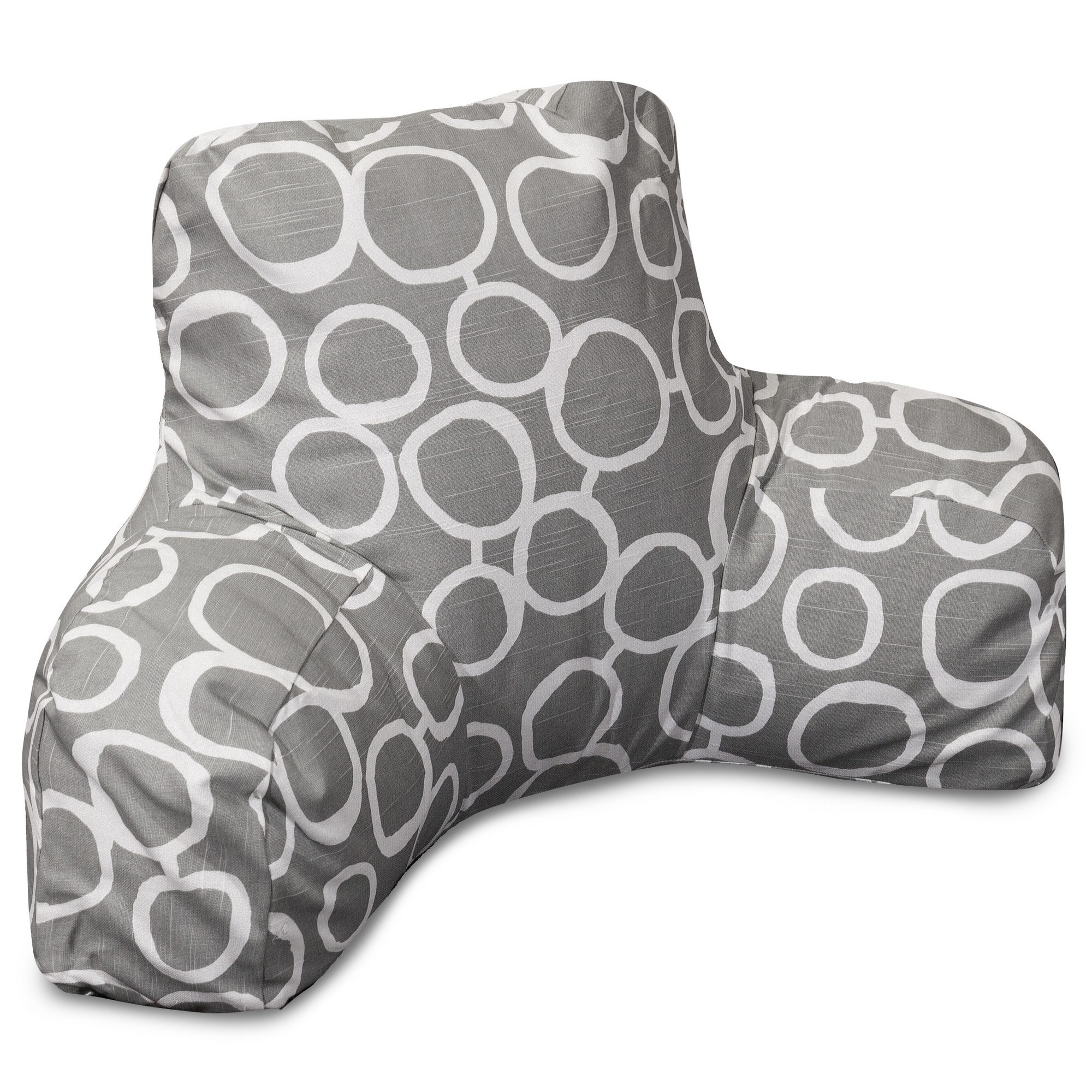 Majestic Home Goods Indoor Gray Fusion Reading Pillow with Arms Backrest Back Support for Sitting 33 in L x 6 in W x 18 in H