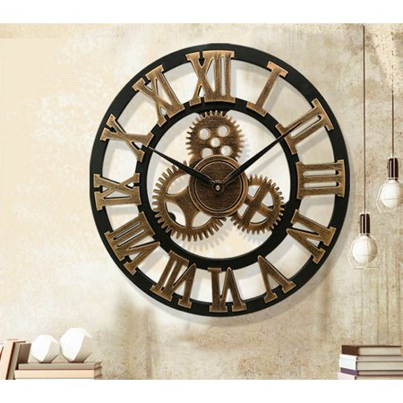 Meigar 19 Inches 3d Wall Clock, Silent Gear Wall Clock, Retro Rustic Large Wall Clock Decorative, Noiseless Big Wall Clock Vintage Antique Distressed Art Roman Numerals Design