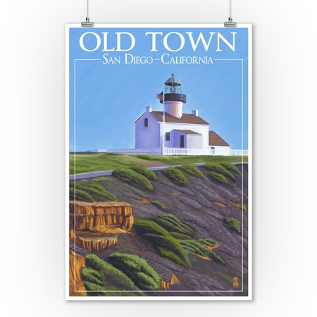 Old Town - San Diego, California - Point Loma Lighthouse -  Lantern Press Poster (9x12 Art Print, Wall Decor Travel Poster)
