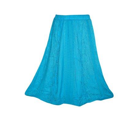 Mogul Womens Long Skirt Blue Embroidered Boho A-line Flare Festive Skirts
