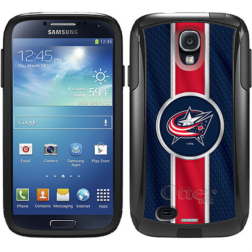 Columbus Blue Jackets Jersey Stripe Design on OtterBox Commuter Series Case for Samsung Galaxy S4