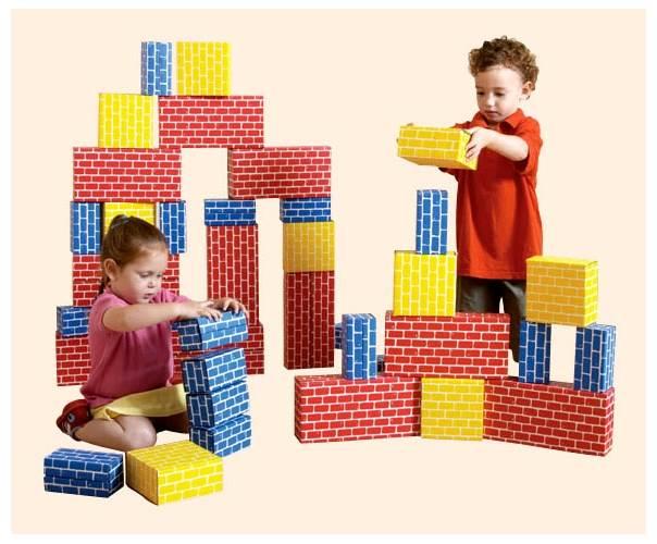 Lightweight Corrugated Brick Style Building Blocks Set (36 Pieces) by edushape