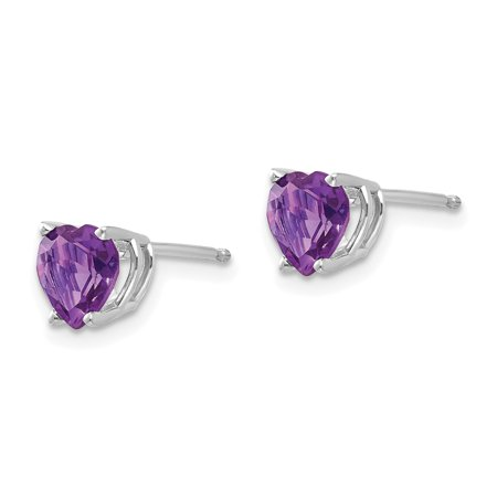 14k White Gold 6mm Heart Purple Amethyst Post Stud Earrings Birthstone February Love Gemstone Fine Jewelry For Women Gifts For Her - image 4 de 7
