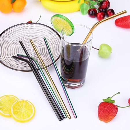 TKOOFN 4PCS/Lot Colorful Reusable Stainless Steel Drinking Straws Straight and Bent Straws DIY Tea Coffee Tools Party Bar Accessories Metal Drinking Straw