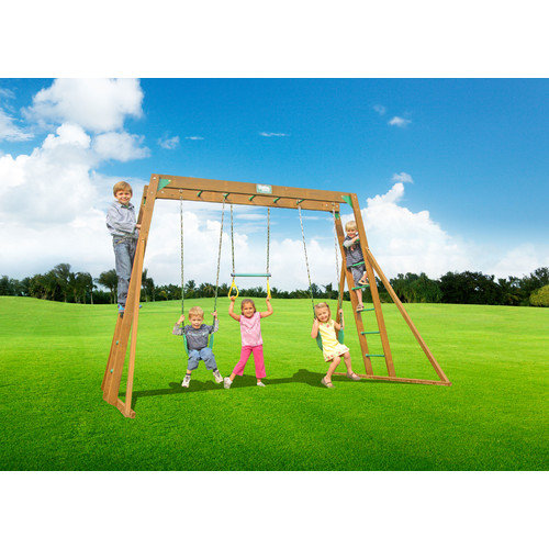 Creative Playthings Classic Swing Set with Top Ladder and Chained Accessories