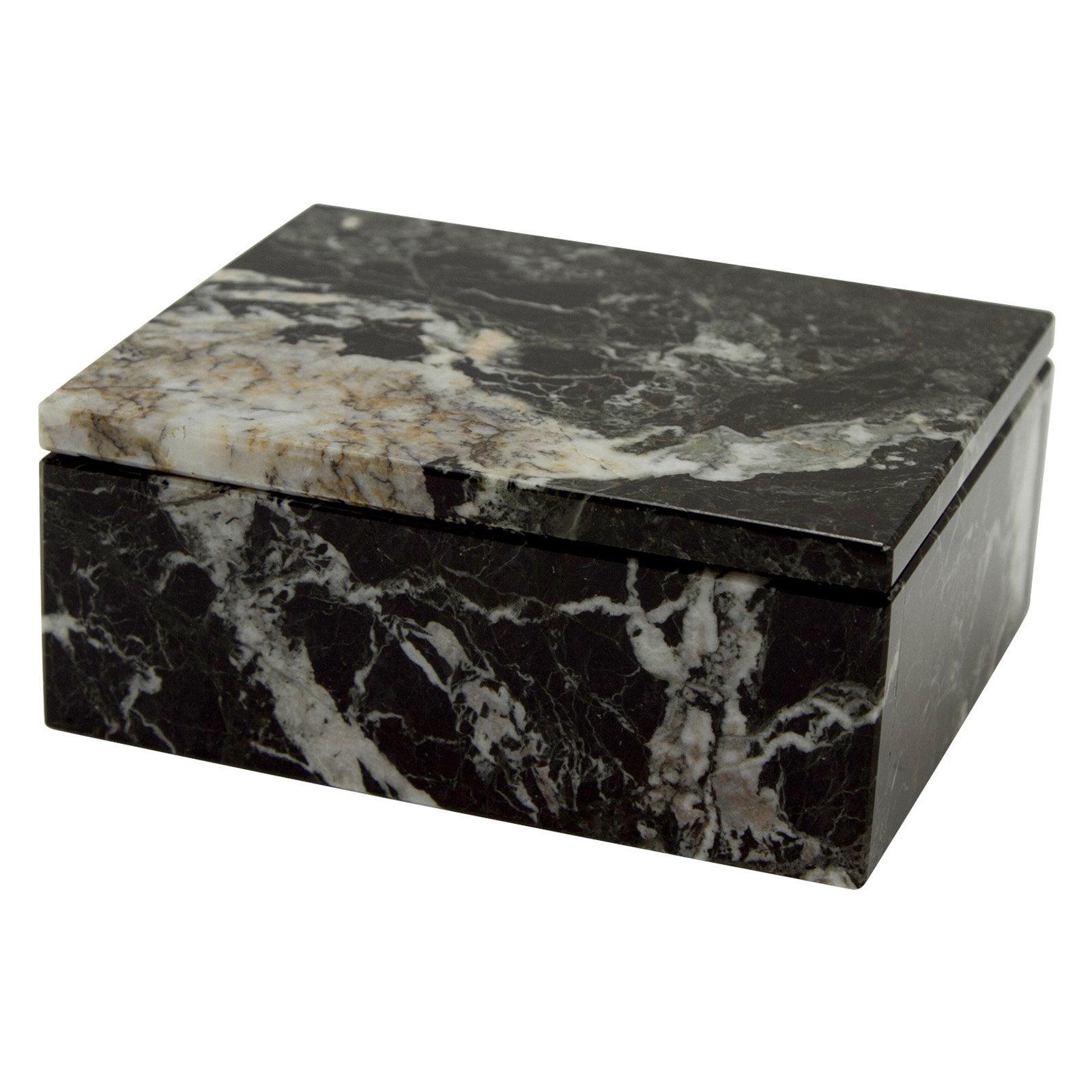 Asteria Keepsake Box - Black Zebra Marble - 5W x 2H in.