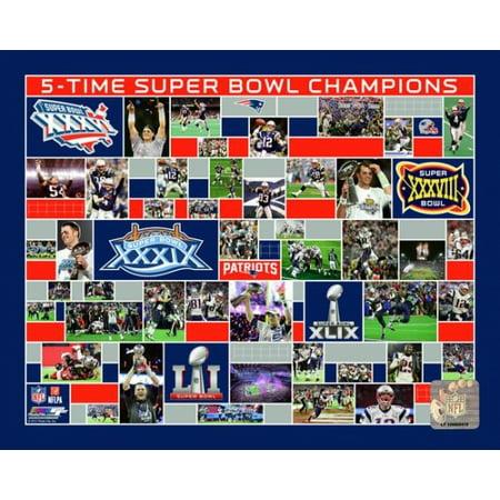 New England Patriots 5 Time Super Bowl Champions Photo Print