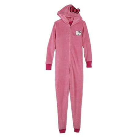 fb37f471c4 Hello Kitty - Sanrio Womens Pink Fleece Hello Kitty Hooded Union Suit  Blanket Sleeper Pajama - Walmart.com