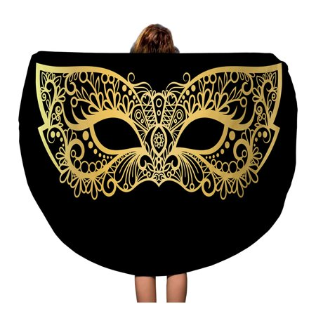 NUDECOR 60 inch Round Beach Towel Blanket Masquerade Golden Carnival Mask Gold Purim Black Floral Party Travel Circle Circular Towels Mat Tapestry Beach Throw - image 2 of 2