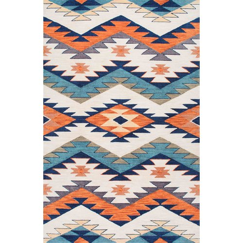 Loon Peak Tuttle Hand Hooked Blue/Orange Area Rug
