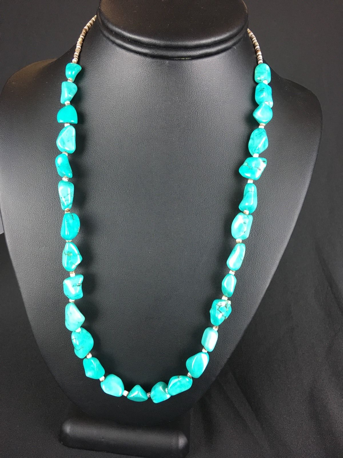 Native American Turquoise Nuggets Sterling Silver Necklace by Masha