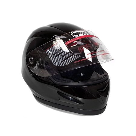 Double Helmet - Motorcycle Full Face Helmet DOT Street Legal DOUBLE VISOR Comes with Clear Flip Up Shield and Retractable Inner Smoked Shield - Glossy Black (Medium) 118_DV
