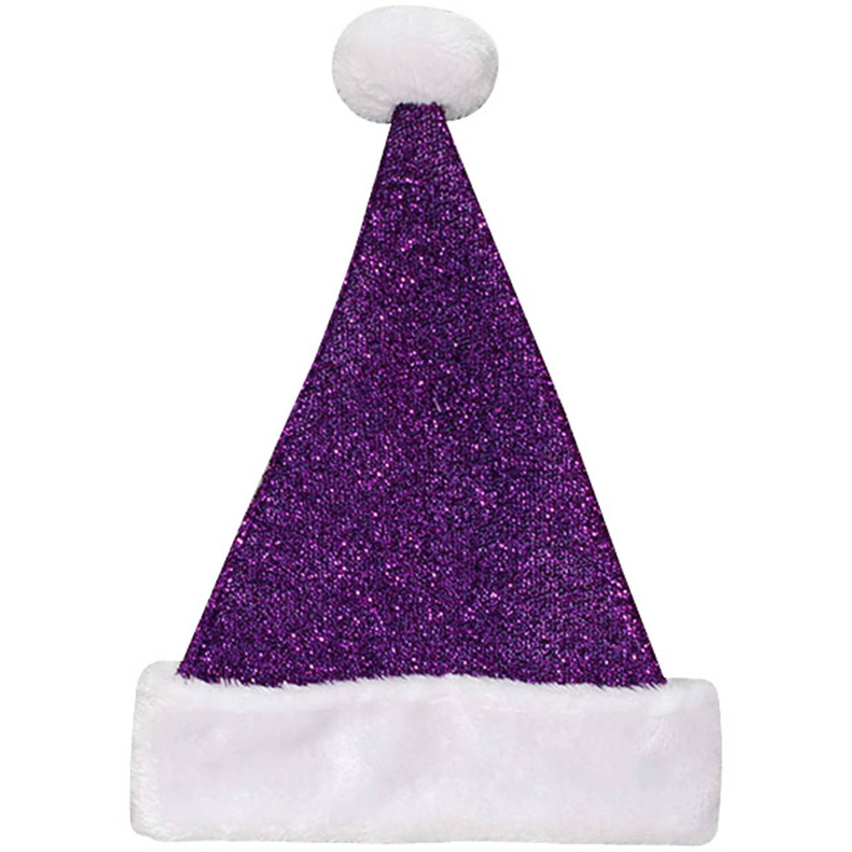 Holiday Time Purple Tinsel Santa Hat