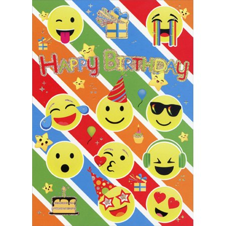 Paper House Productions Birthday Emoticons Foil Birthday Card For Kids