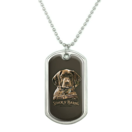 Military Barrel (Stock and Barrel Outfitters Pointer Dog Quail Hunting Military Dog Tag Pendant Necklace with Chain)