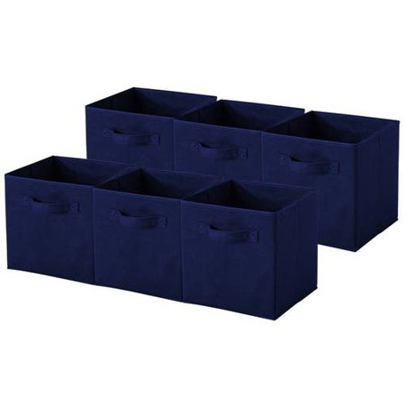 Sorbus Foldable Storage Cube Basket Bin (6pk) Navy Blue