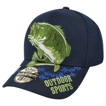 Outdoor sports fishing fish bass navy blue camp camping for Fishing hats walmart