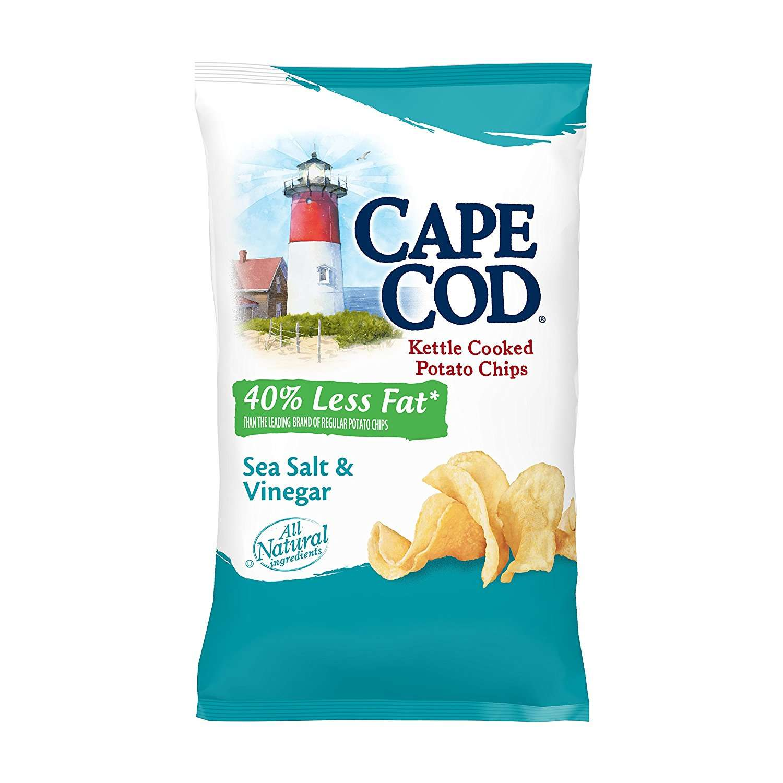 Cape Cod Reduced Fat Kettle Cooked Potato Chips, Salt & Vinegar, 8 Oz by Snyder's-Lance