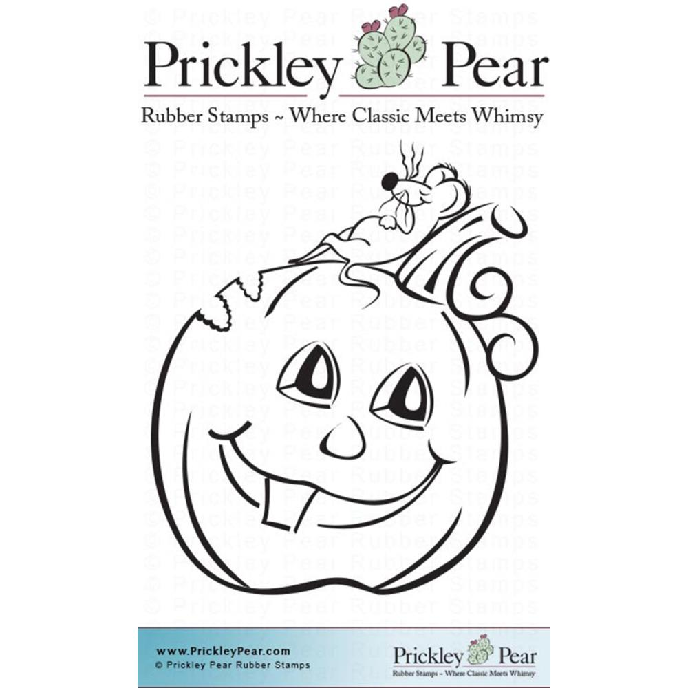 Prickley Pear Cling Stamps 2.5 Inch X 2 Inch-Pumpkin And Mouse
