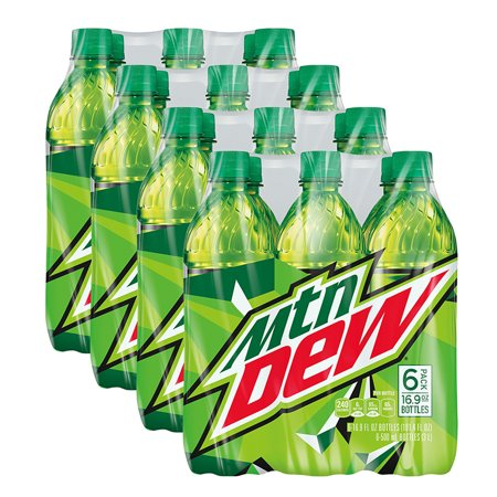 (4 Pack) Mountain Dew Soda, 6 Count, 16.9 fl. oz. Bottles (Mountain Dew Costume)