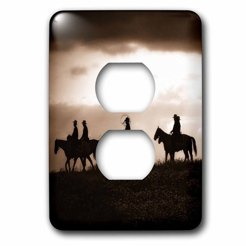 3dRose Sepia toned cowboy silhouettes on horseback, 2 Plug Outlet Cover