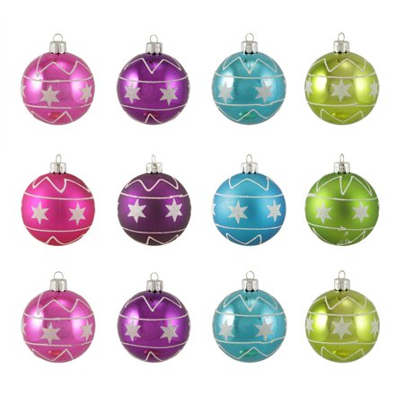 12ct Colorful Star Glitter Shatterproof Christmas Ball Ornaments 2.5 (60mm)
