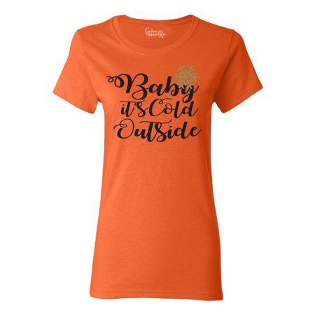 Baby It's Cold Outside Christmas Winter Womens T-Shirt Top](Wet T Shirt Contest Winners)