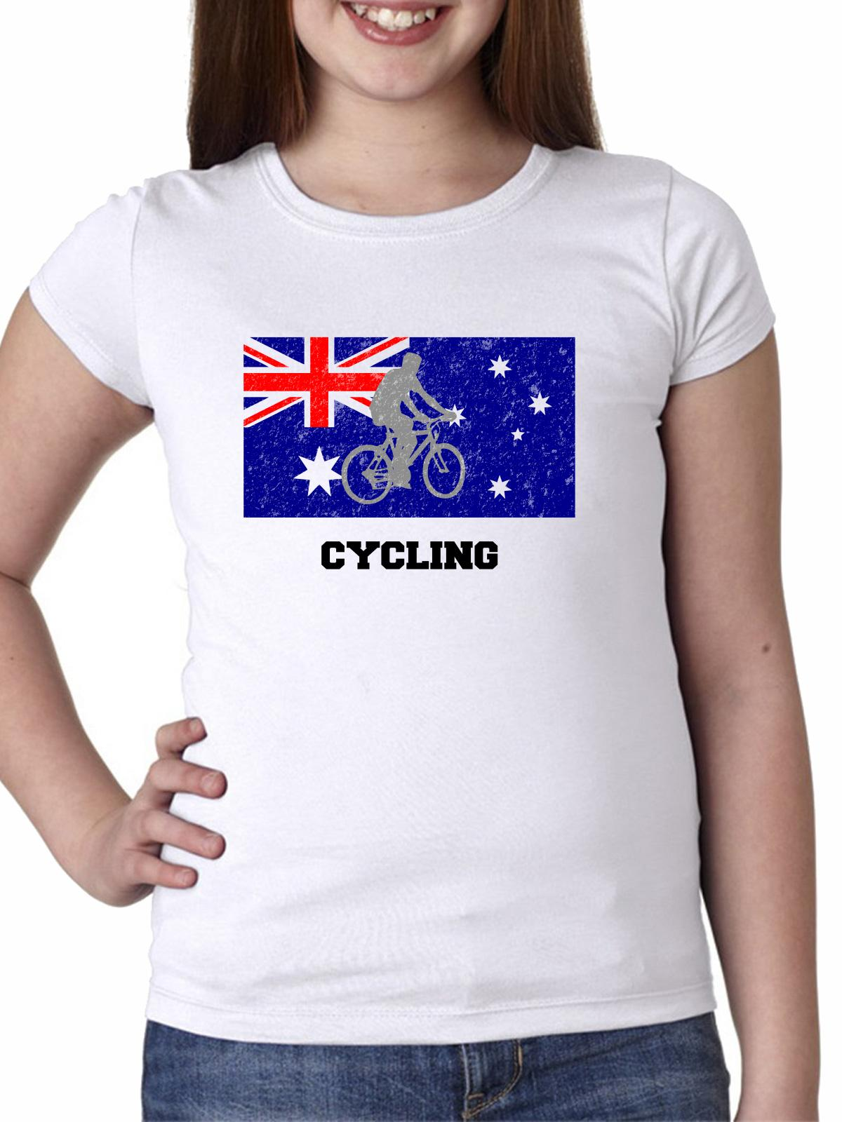 Australia Olympic - Cycling - Flag - Silhouette Girl's Cotton Youth T-Shirt