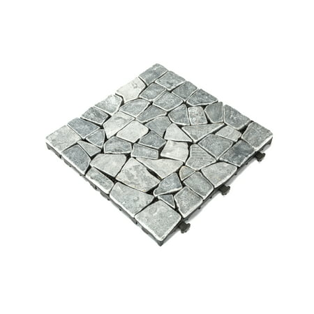 Courtyard Casual Natural Tavertine Stone Gray Deck Tile, 6 pc Set ()