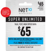 Net10 $65 Super Unlimited Talk, Text, Data 30 Day Plan w/ Unlimited Int'l Calling + 10GB of Mobile Hotspot Direct Top Up