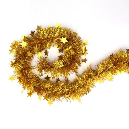 Gold Tinsel Garland Stars Christmas Tree Decorations Wedding Party Supplies 60