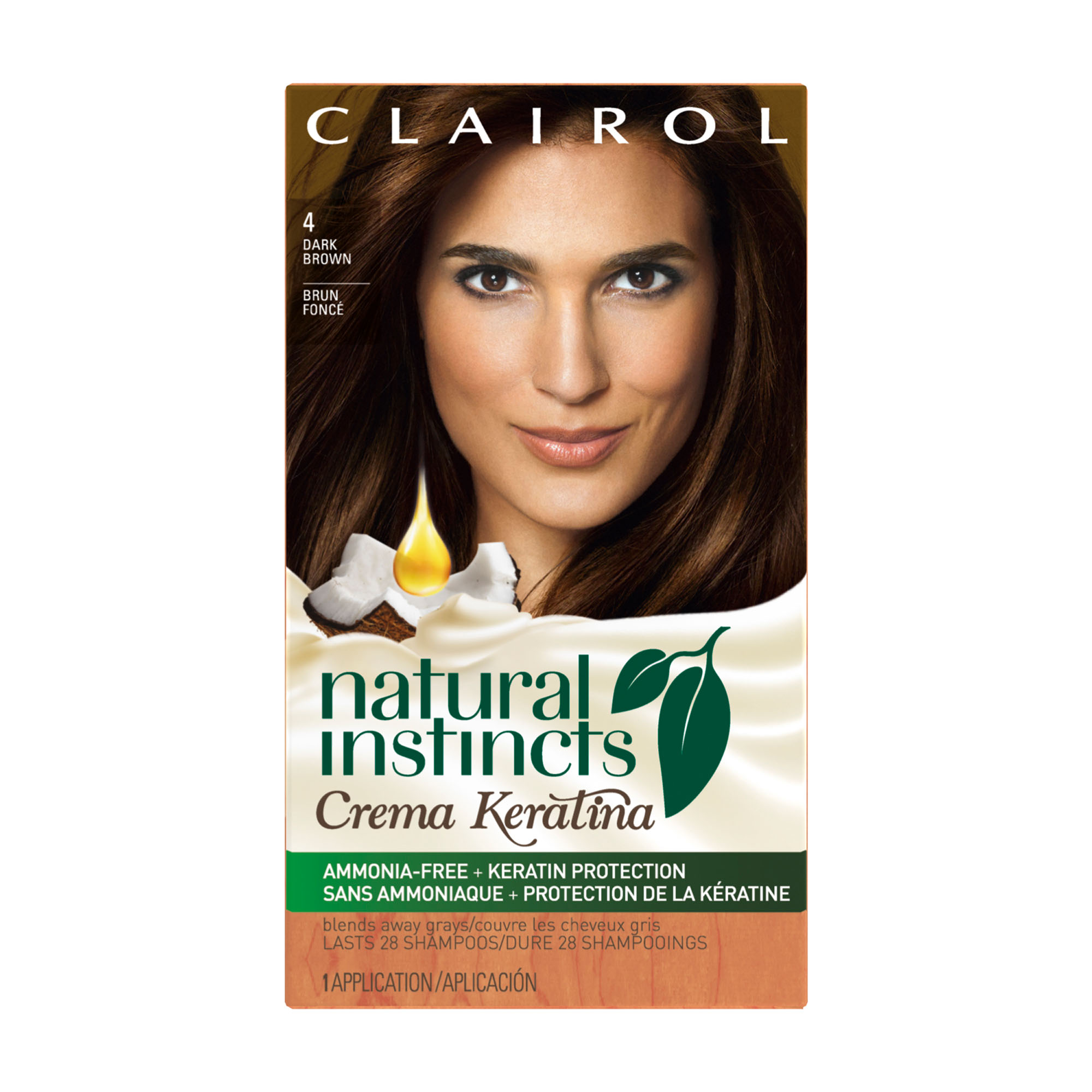 Clairol Natural Instincts Crema Keratina Hair Color, 4 Dark Brown/ Coffee Crème