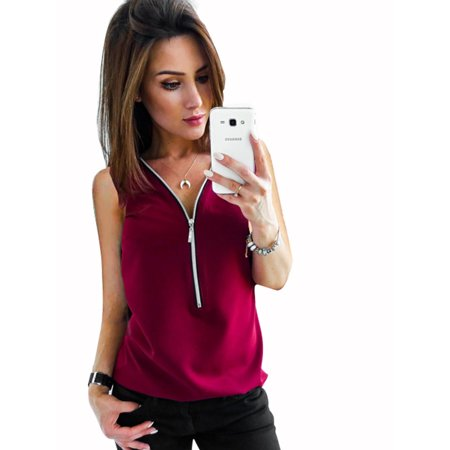 Casual Tops for Women Plus Size Summer Sleeveless Zip Up V Neck Office Loose Baggy Shirt Blouse Zip T-shirt Work Top