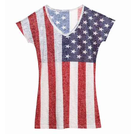 Women 39 S American Flag Ladies Burnout Stars And Stripes T