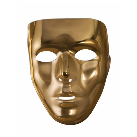 Gold Full Face Mask Halloween Costume Accessory - V Halloween Mask