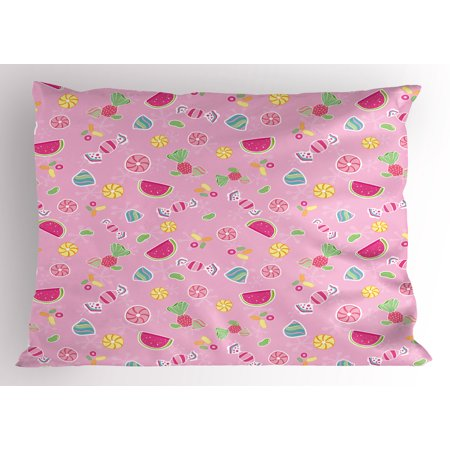 Sweet Pillow Sham Candies Yummy Treats Watermelon Creative Delicious Tastes Kids Design, Decorative Standard Size Printed Pillowcase, 26 X 20 Inches, Pale Pink Magenta Mint, by Ambesonne