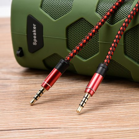 3.5Mm Male To Male Audio Cable by Insten 5FT Universal Auxiliary Cord 3.5mm Male to Male Braided Audio Aux Cable w/Aluminum Connector for iPods iPhones iPads Home Car Stereos - Red - image 2 of 3