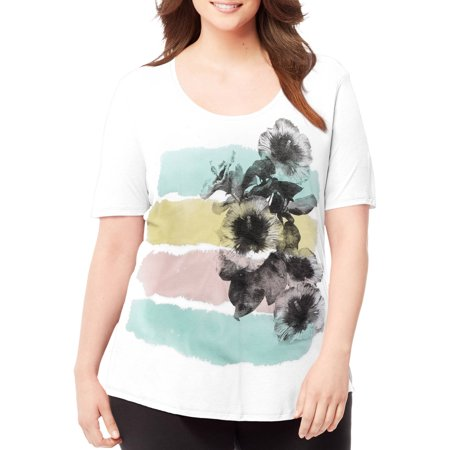 8ac0d5b39ab Just My Size - by Hanes Women s Plus-Size Short-Sleeve Scoop-Neck Graphic  T-Shirt - Walmart.com