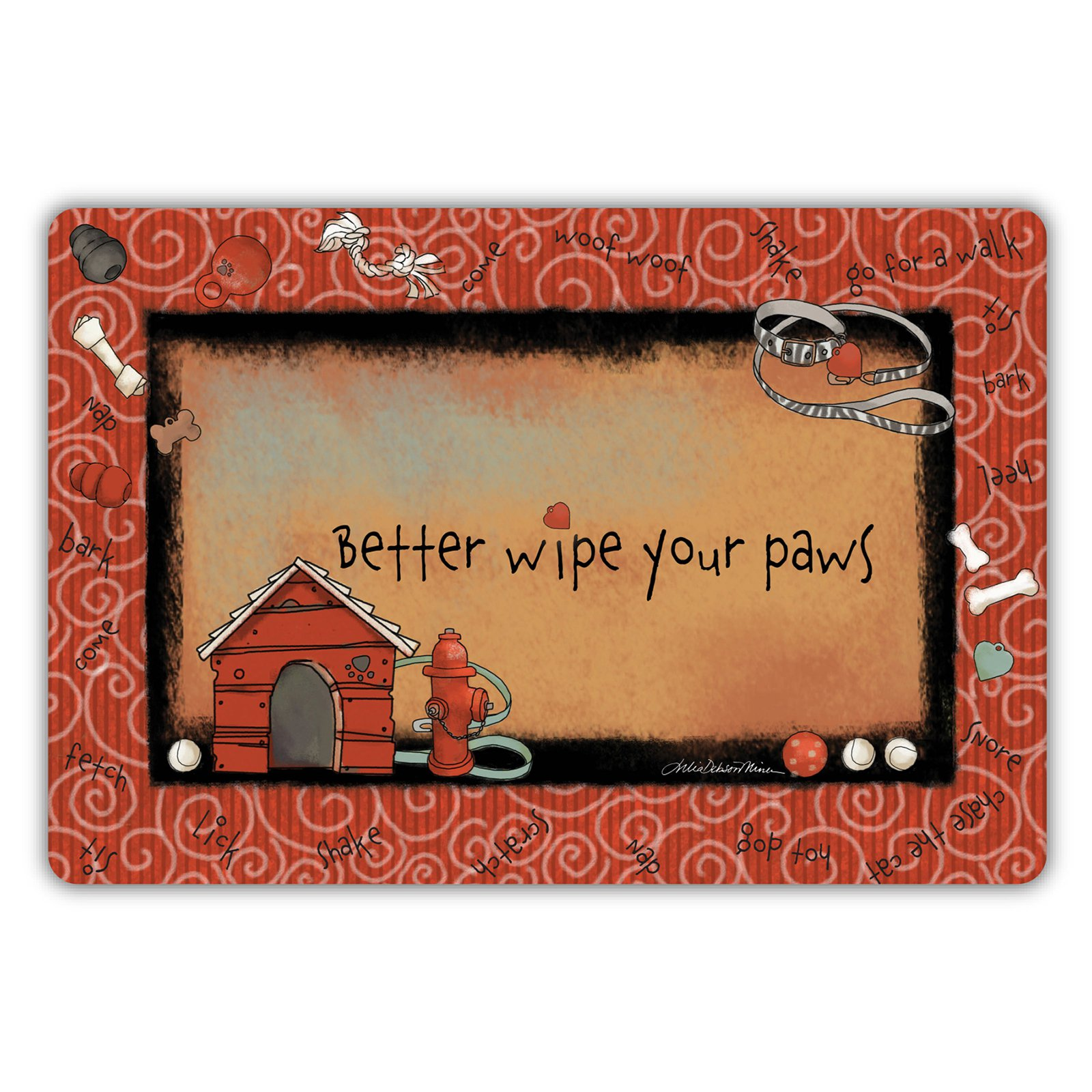 Drymate Dog Collection Welcome Mat - Swirl Border- Red