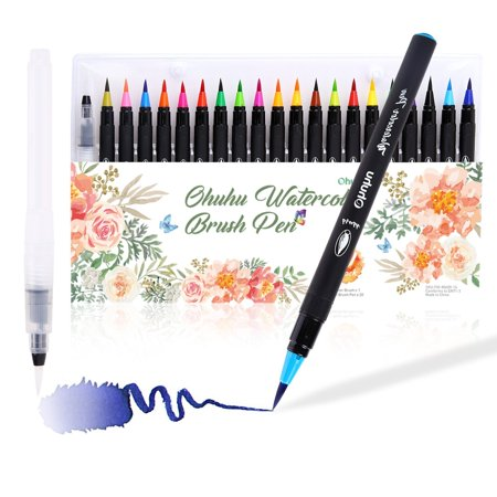 Watercolor Brush Markers Pen, Ohuhu 20 Colors Water Based Drawing ...