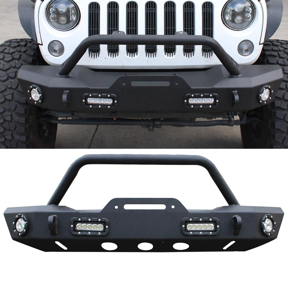 Black Front Bumper With winch plate d-rings Fits 2007-2019 Jeep Wrangler Jk